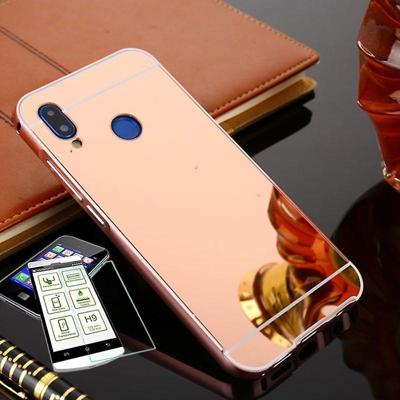 Mirror / Spiegel Alu Bumper 2 teilig Pink + 0,3 mm H9 Hartglas für Huawei P20
