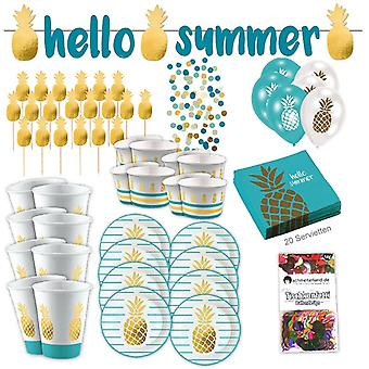 Gold pineapple tropical party party box 73-teilig pineapple party party package