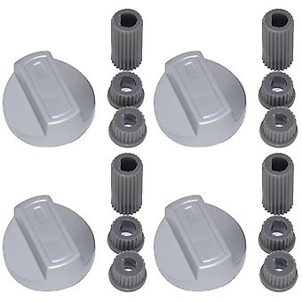 4 X AEG Universal Universal Cooker/Oven/Grill Control Knob And Adaptors Silver