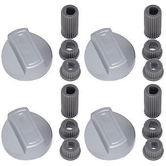 4 x Menegetti Universal fogão/forno/Grill a manopla e adaptadores prata