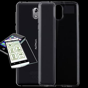 Silikoncase transparent + 0.3 H9 protection glass for Nokia 3.1 2018 bag case cover