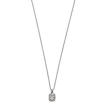 Elements Gold Topaz and Diamond Pendant - Clear/White Gold