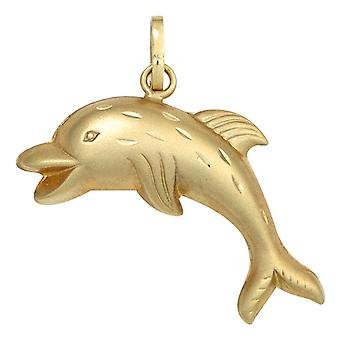 Kids pendant Dolphin Dolphin 333 gold yellow gold partially frosted children's jewellery