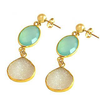 Damen - Ohrringe - 925 Sterling Silber - Vergoldet - DRUZY - Weiß - Quarz - Chalzedon - Aqua Blau - 4 cm
