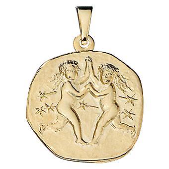 Segno zodiacale Gemelli-oro oro giallo 333, ASTRO di ciondolo