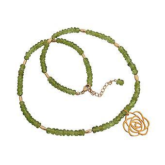 Ladies or péridot vert fleur Art-déco en argent sterling plaqué de 45 cm