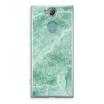 Sony Xperia XA2 Transparent Case (Soft) - Green marble