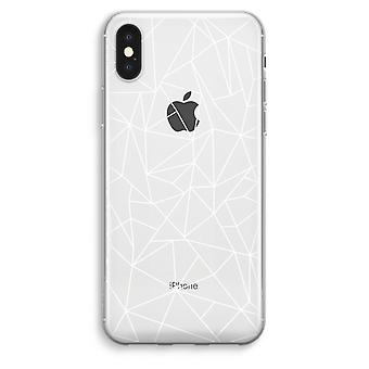 iPhonegeval XS Max transparant (Soft) - geometrische lijnen wit
