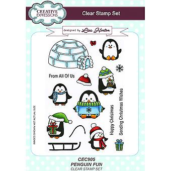 Creative Expressions Lisa Horton Penguin Fun Clear Stamp 15 Set ***