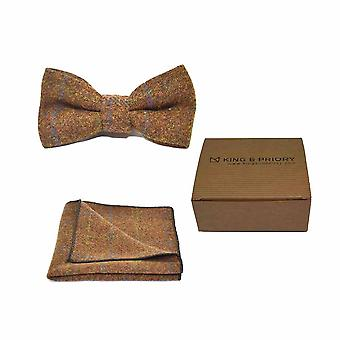 Heritage Check Cedar Brown Bow Tie & Pocket Square Set - Tweed, Plaid Country Look | Boxed