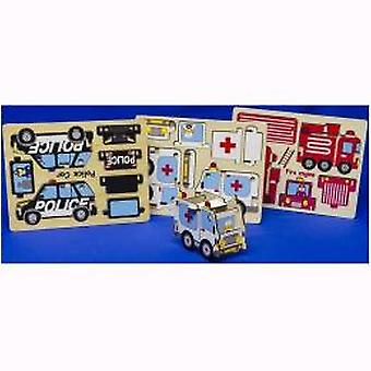 3D puzzle wood emergency services 30x22cm