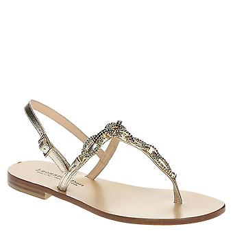 Flat jewels sandals in metallic platinum leather