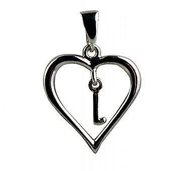 Zilveren hart hanger met een hangende eerste L
