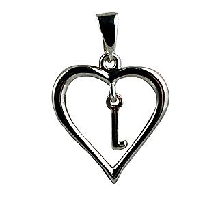 Silver heart Pendant with a hanging Initial L