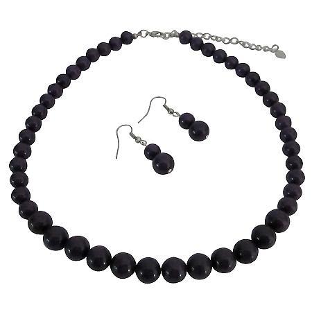Glamorous Bridal Bridesmaid Jewelry Dark Purple Necklace Earrings Set