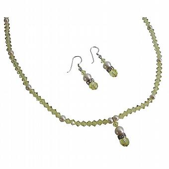 Ivory Pearls Jonquil Crystal Jewelry Set Handcrafted Swarovski