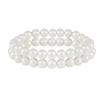 Wieczne kolekcji Cavendish dwa białe perły elastyczny mankiet bransoletka