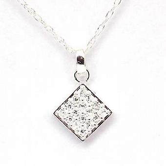Toc Sterling Silver Diamond Shaped Cz Pendant on 18 Inch Chain