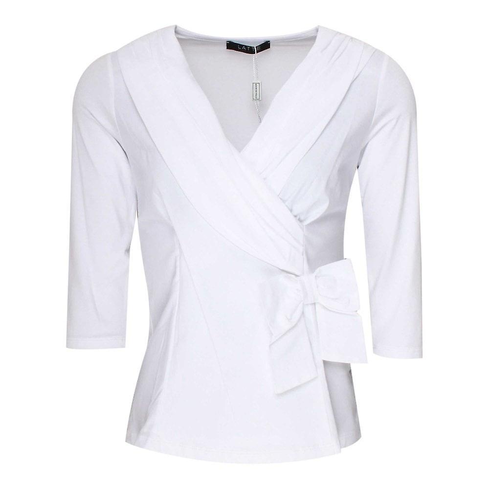 Latte blanc Long Sleeve Cross Over Detail Top