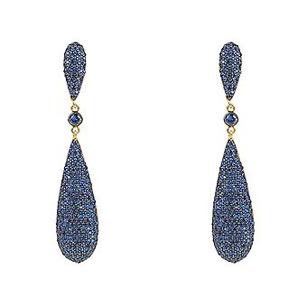 Long Drop Blue CZ Gold Big Earrings Large Fashion Designer 925 Sterling Silver