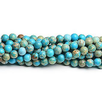 Strang türkis Eindruck 90 + Jasper 4mm einfache Runde Perlen gefärbt CB41817-1