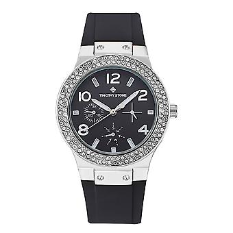 Timothy Stone Women's FACON-SILICONE Silver-Tone and Black Strap Watch