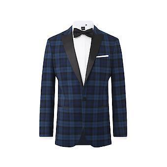 Dobell Mens Blue Tartan Tuxedo Jacke Regular Fit Peak Lapel