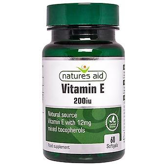 Nature's Aid Vitamin E 200iu Natural Form Softgels 60