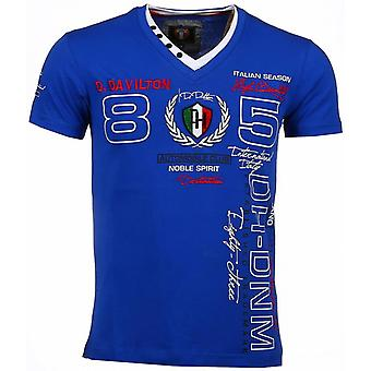 Italian T-shirt-short sleeve men-Embroidery automobile Club-Blue