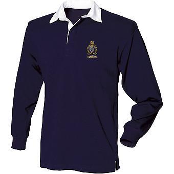 Queens Royal Ierse Hussars veteraan-gelicentieerd Britse leger geborduurd lange mouw rugby shirt