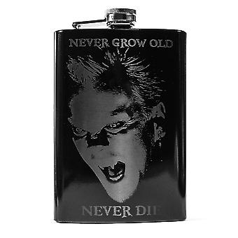8oz black never grow old flask l1