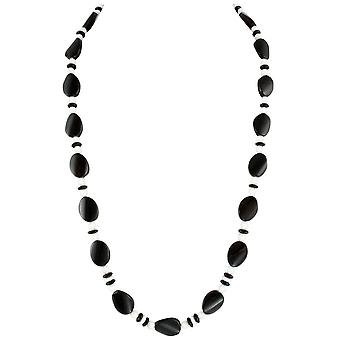 Ewige Sammlung Silhouette schwarz Achat und weiße Jade Halb kostbare Perlen lange Halskette