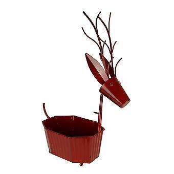 Rustic Metal Art Deer Indoor Outdoor Decorative Tub or Planter Sculpture