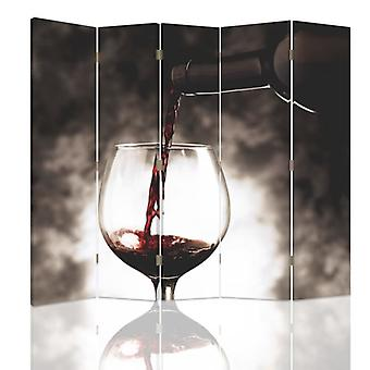 Room Divider, 5 Panels, Canvas, Glass Of Wine