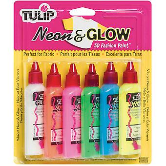 Tulip 3D Fashion Paint 1 1 4 Ounces 6 Pkg Neon & Glow Sk 76V