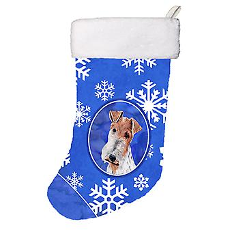 Wire Fox Terrier Winter Snowflakes Christmas Stocking