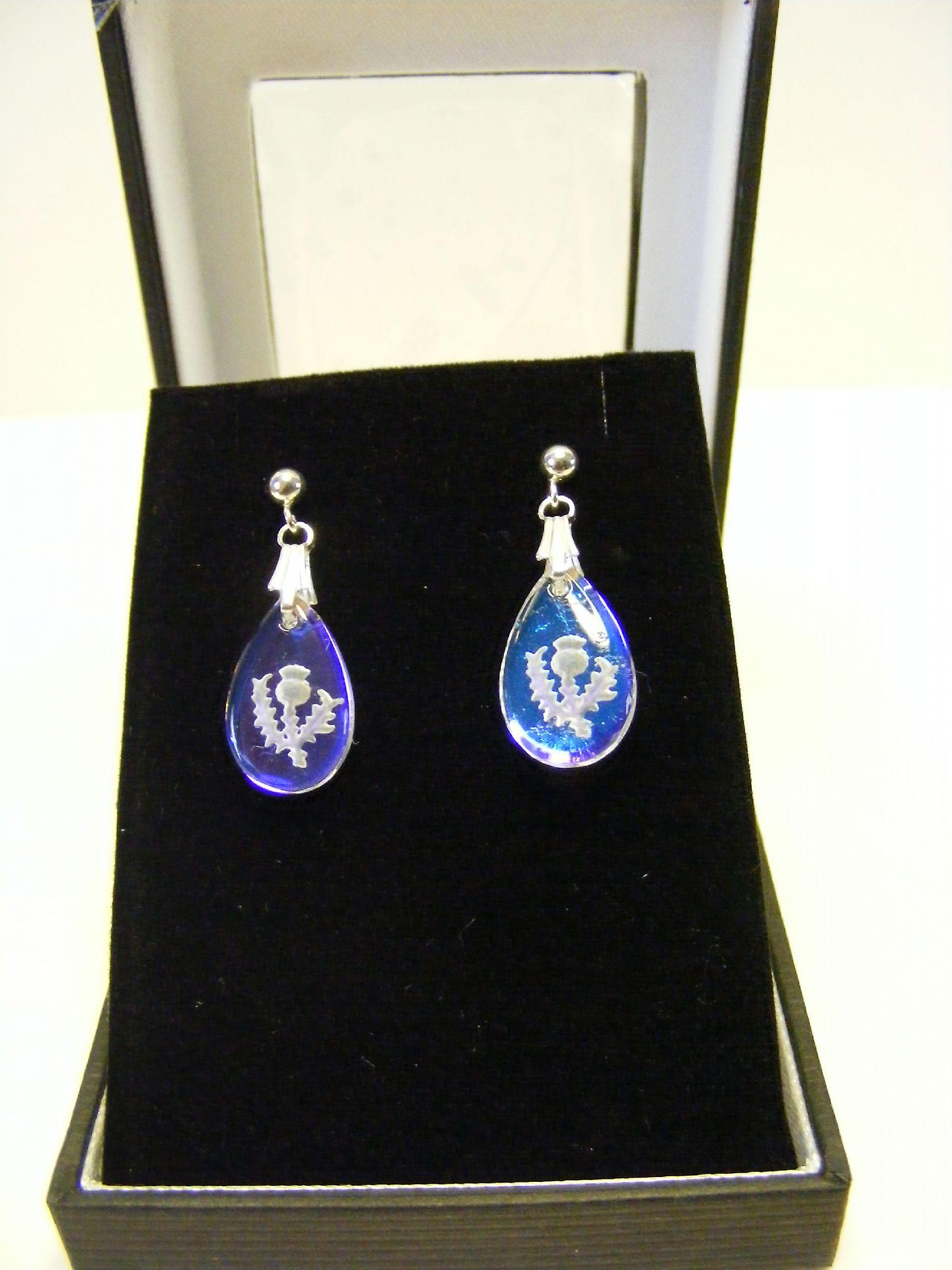 Ice Blue Thistle Teardrop Earrings and Small Pendant set