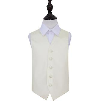 Boy's  Ivory Plain Satin Wedding Waistcoat