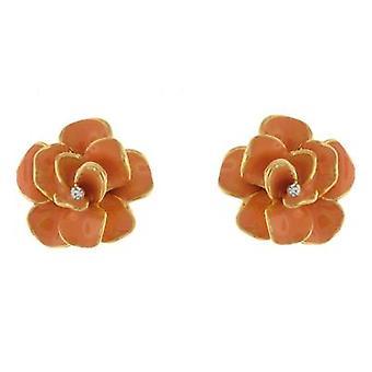Clip On Earrings Store Orange Enamel Rose Flower Gold Clip on Earrings