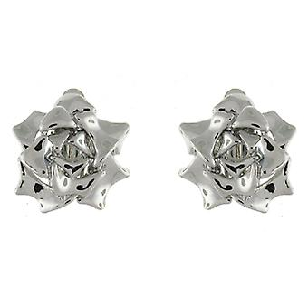 Clip On Earrings Store Shiny Silver Plated Blossoming Rose Flower Clip On Earrings