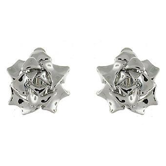 Clip auf Ohrringe Store glänzend Silber vergoldet blühende Rose Blume Clip auf Ohrringe