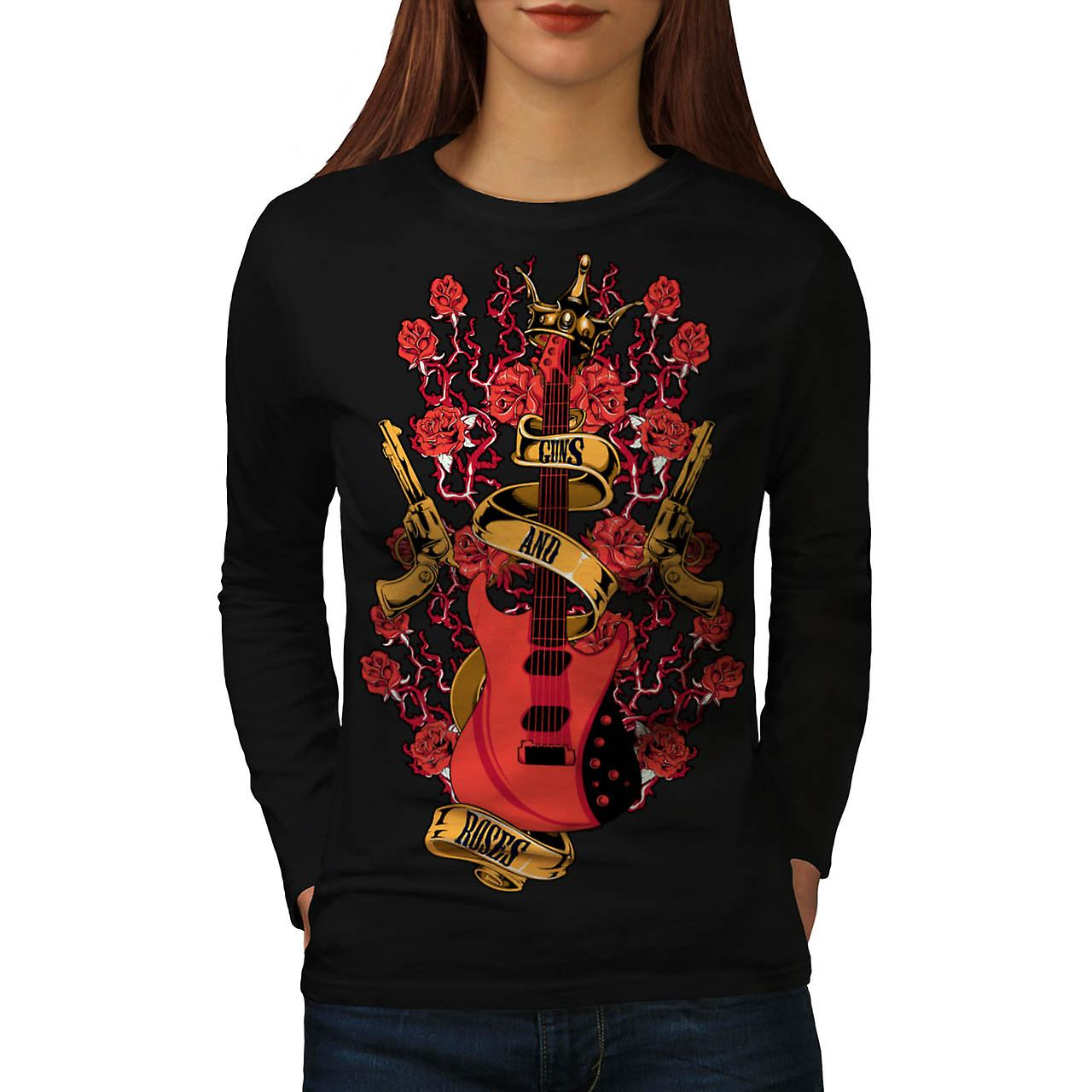 Roses and Guns Rock Women Black Long Sleeve T-shirt | Wellcoda