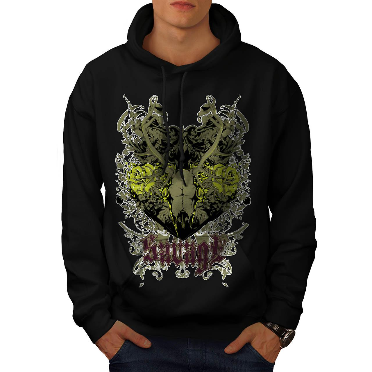 Savage Animal Rose Skull Men Black Hoodie | Wellcoda