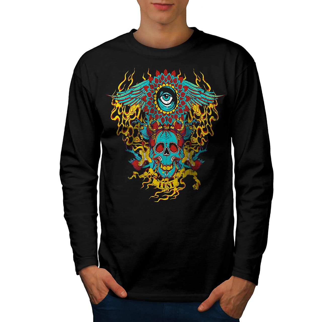 Heart Flame Eye Skull Men Black Long Sleeve T-shirt | Wellcoda