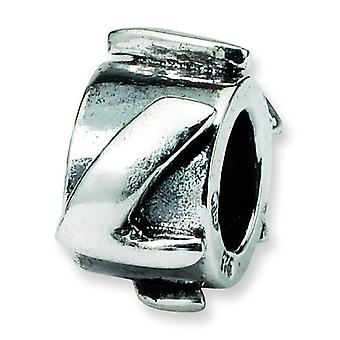 Sterling Silver Polished Antique finish Reflections Letter L Message Bead Charm
