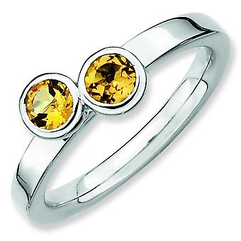 Sterling Silver Stackable Expressions Db Round Citrine Ring - Ring Size: 5 to 10