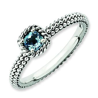 2.5mm Sterling Silver Stackable Expressions Checker-cut Blue Topaz Antiqued Ring - Ring Size: 5 to 10