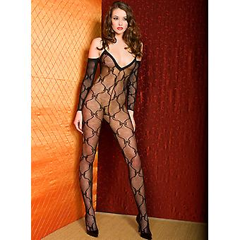 Fishnet Catsuit With Bow Design And Sleeves-Black