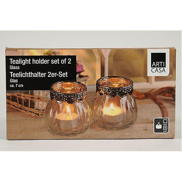 Set of 2 Clear Glass Tealight Candle Holders For Dinner Party Tableware