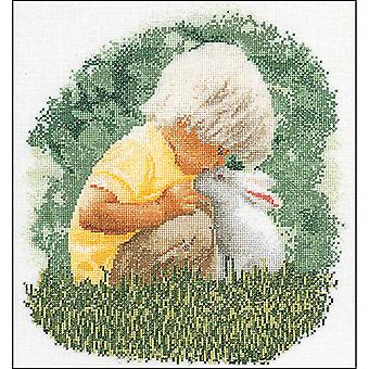 Boy & Rabbit On Aida Counted Cross Stitch Kit-12.5